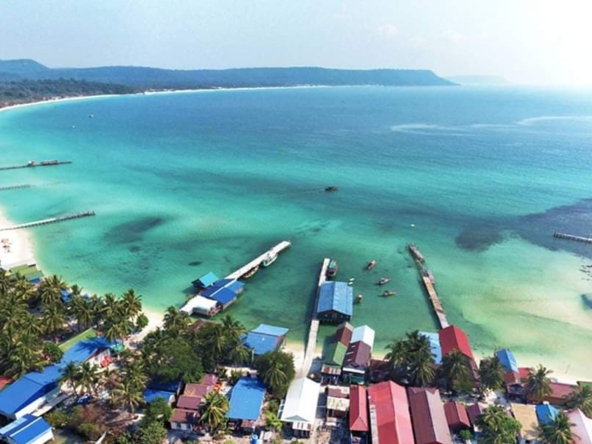 aerial photo of the hotel property beach resort for rent in Sok San Beach in Koh Rong in Cambodia