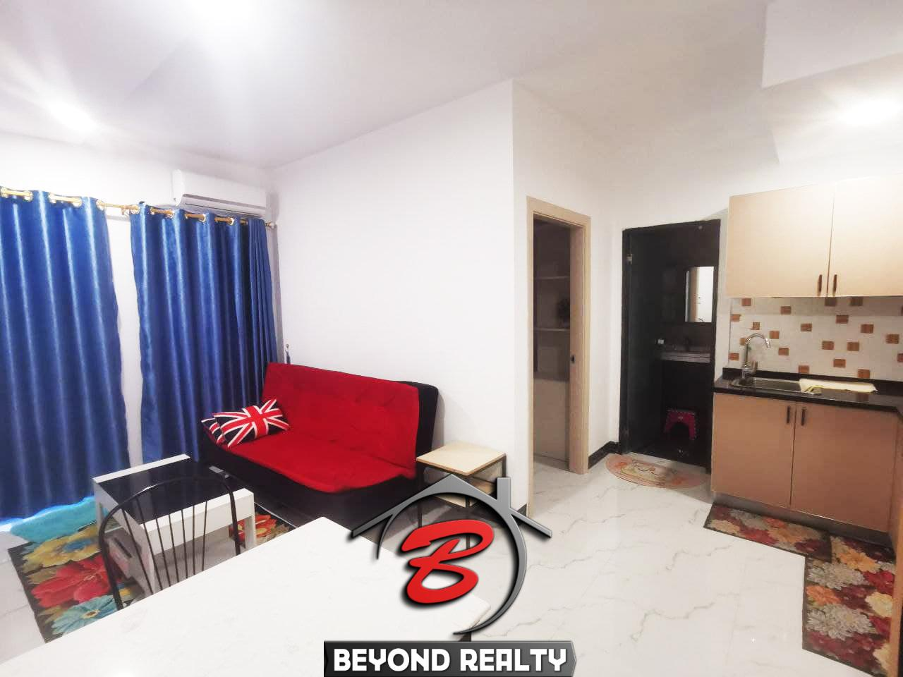 the living room of the 1-bedroom serviced condo for rent in Boeung Tompun Phnom Penh Cambodia