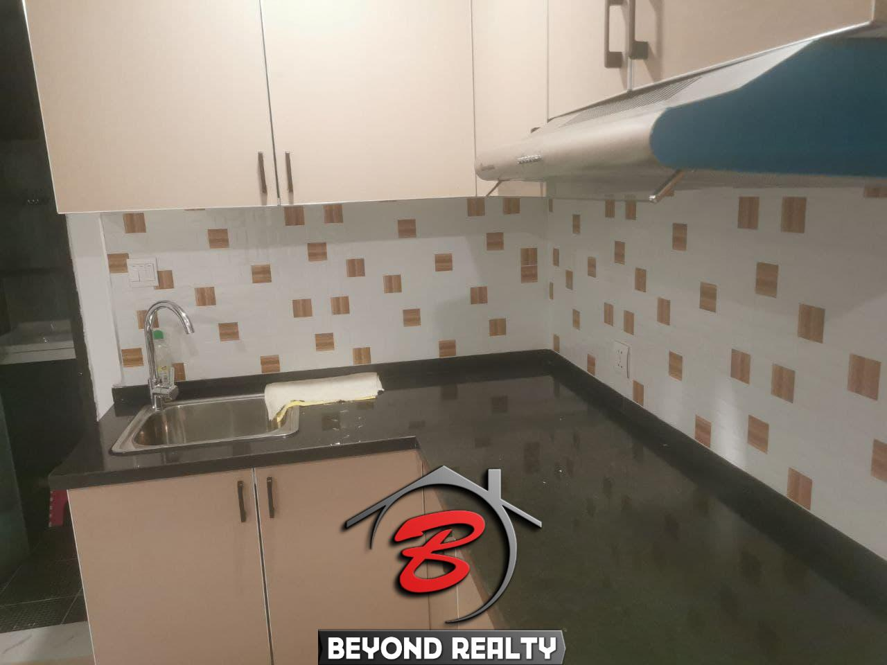 the kitchen of the 1-bedroom serviced condo for rent in Boeung Tompun Phnom Penh Cambodia