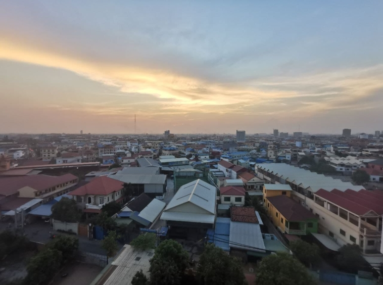 the view from the balcony of the 1-bedroom serviced condo for rent in Boeung Tompun Phnom penh Cambodia