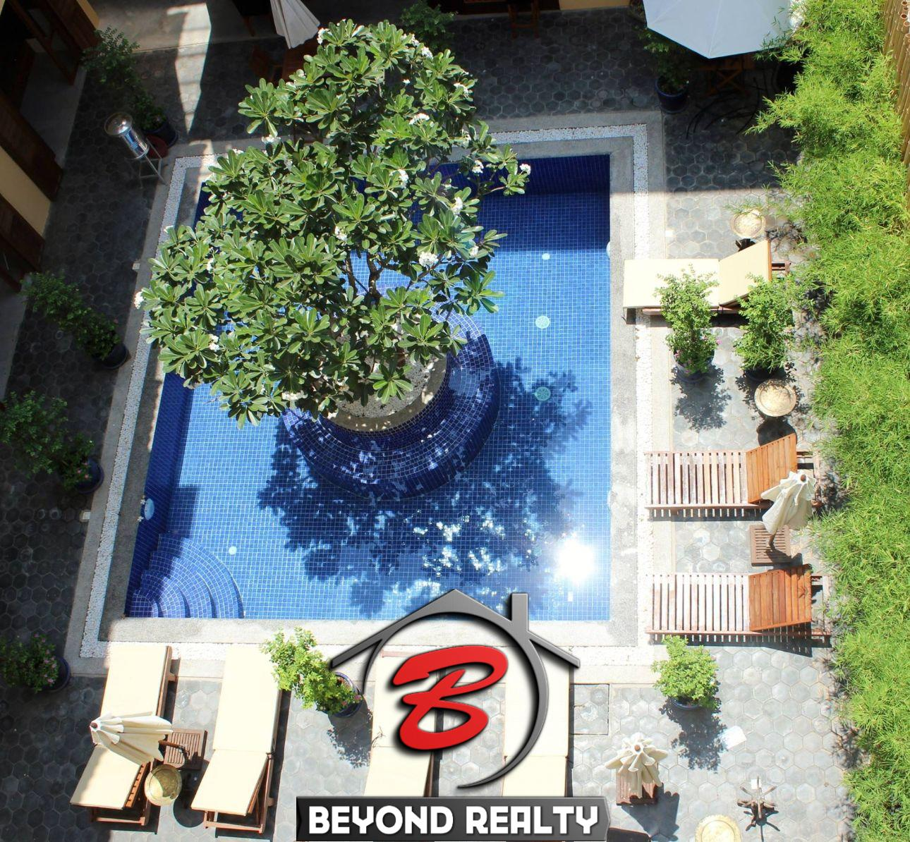 swimming pool of the boutique hotel for rent in BKK1 in Phnom Penh Cambodia