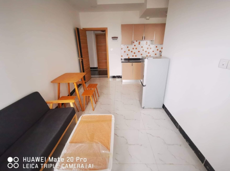 the living room of the 1br serviced condo for rent in Boeung Tompun Phnom Penh Cambodia