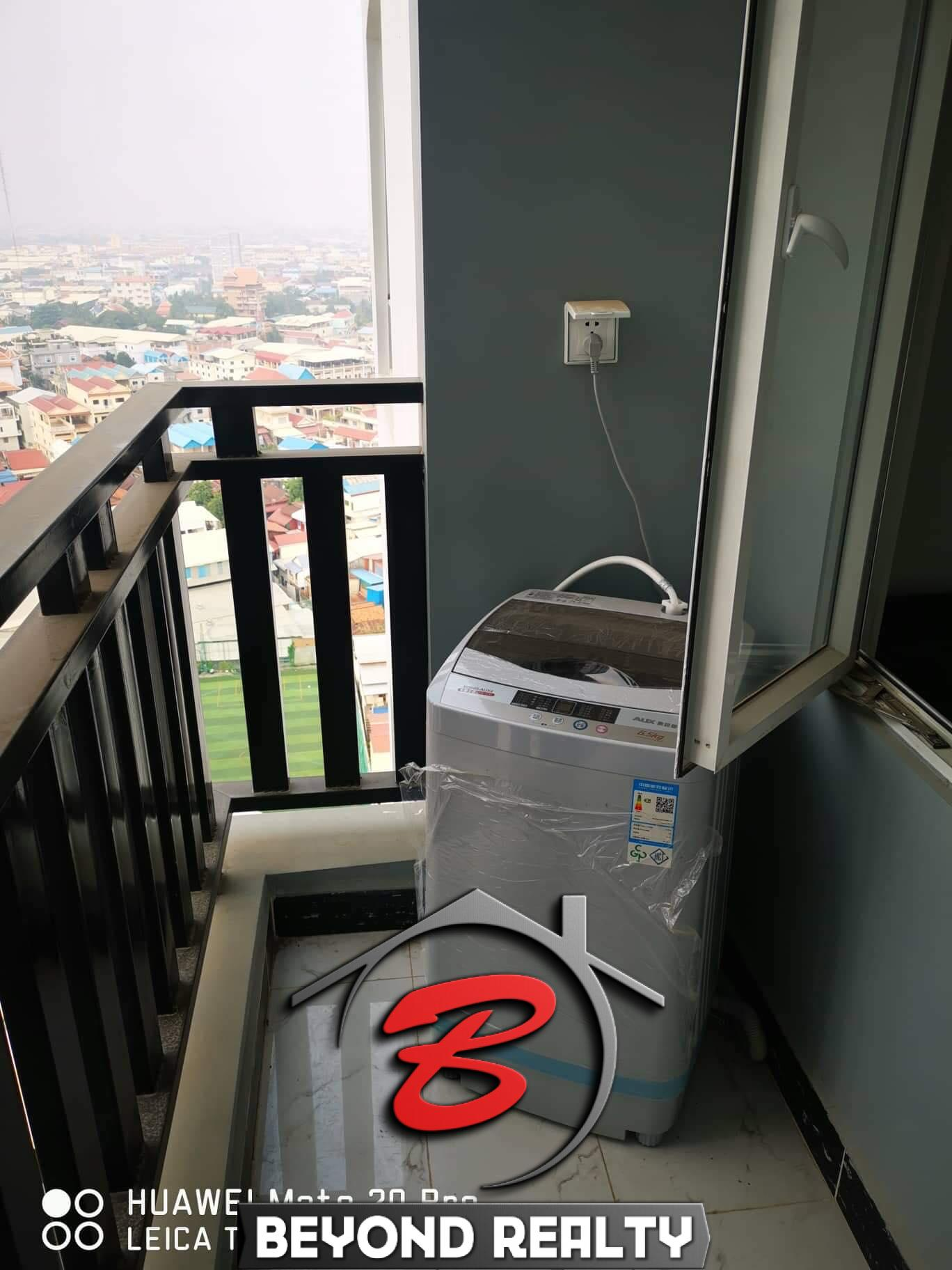 the balcony of the the bathroom of the 1br serviced condo for rent in Boeung Tompun Phnom Penh Cambodia