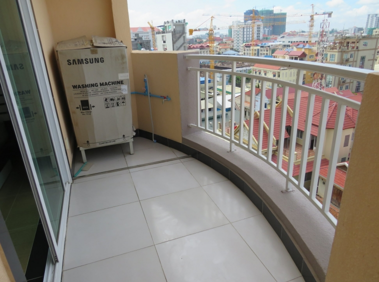 the balcony of the well designed serviced condo for rent in TTP in Phnom Penh