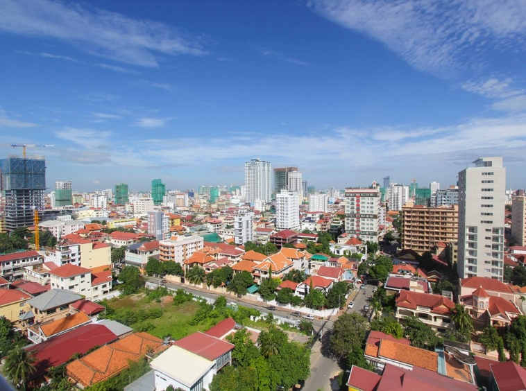 the view from the terrace of the apartment in which 1-bedroom luxury spacious serviced apartment for rent in BKK1 in Phnom Penh in Cambodia is located