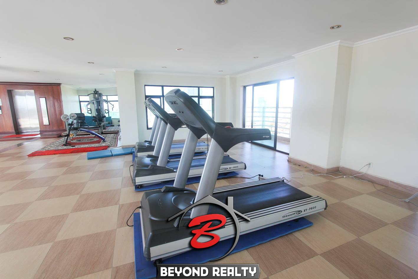 the gym of the 1-bedroom luxury spacious serviced apartment for rent in BKK1 in Phnom Penh in Cambodia