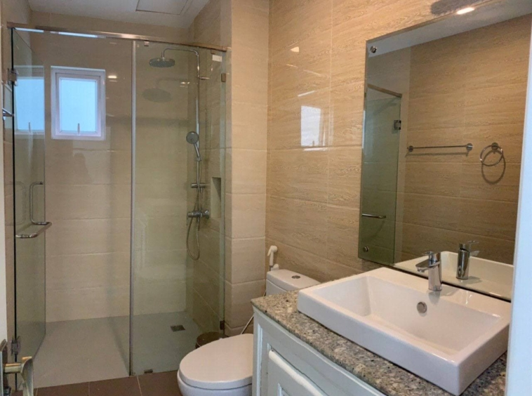 the bathroom fo the the living room of the 1br serviced apartment for rent in Boeung Trabek in Chamkar Mon Phnom Penh Cambodia