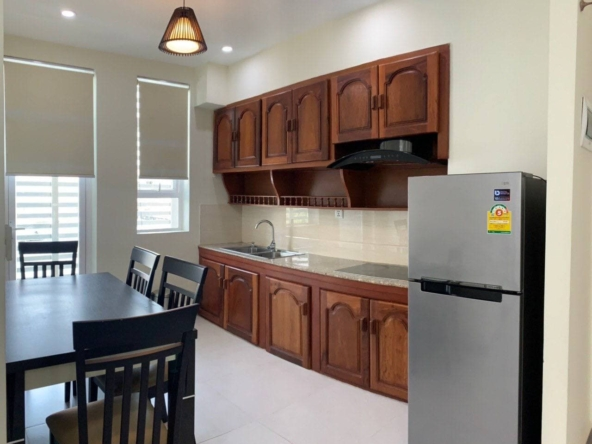 the kitchen of the the living room of the 1br serviced apartment for rent in Boeung Trabek in Chamkar Mon Phnom Penh Cambodia