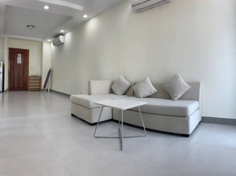 the living room of the 1br serviced apartment for rent in Boeung Trabek in Chamkar Mon Phnom Penh Cambodia