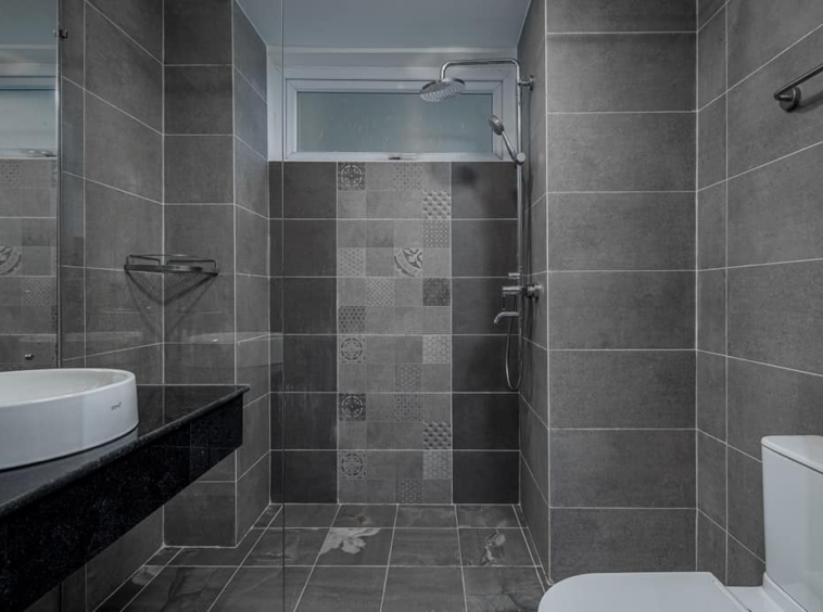 the bathroom of the 1br serviced apartment rental in Toul Tom Poung Phnom Penh Cambodia