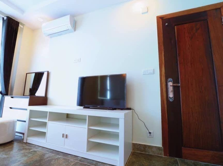 the living room of the 2br serviced apartment for rent in Boeung Trabek in Chamkar Mon Phnom Penh Cambodia