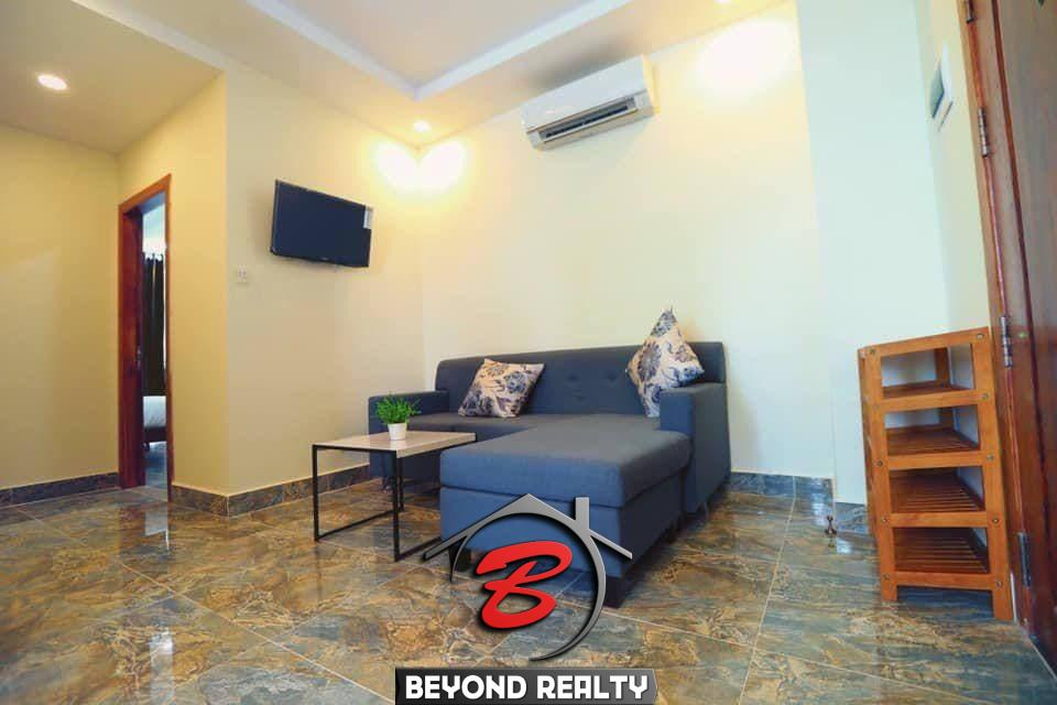 the living room fo the 2br serviced apartment for rent in Boeung Trabek in Chamkar Mon Phnom Penh Cambodia