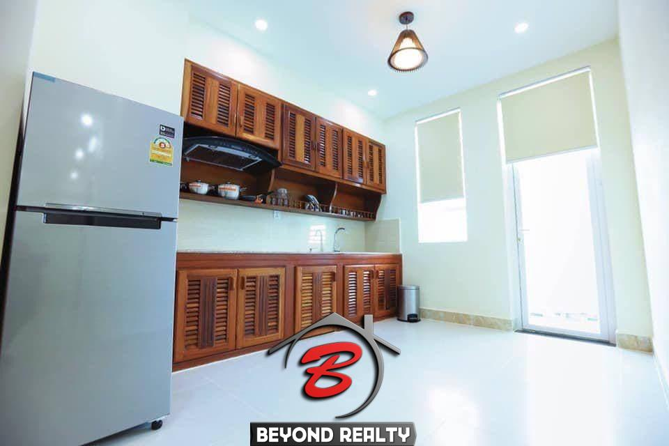 the kitchen of the 2br serviced apartment for rent in Boeung Trabek in Chamkar Mon Phnom Penh Cambodia