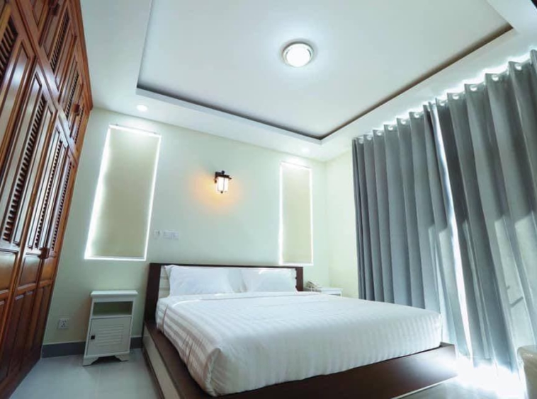 a bedroom fo the 2br serviced apartment for rent in Boeung Trabek in Chamkar Mon Phnom Penh Cambodia