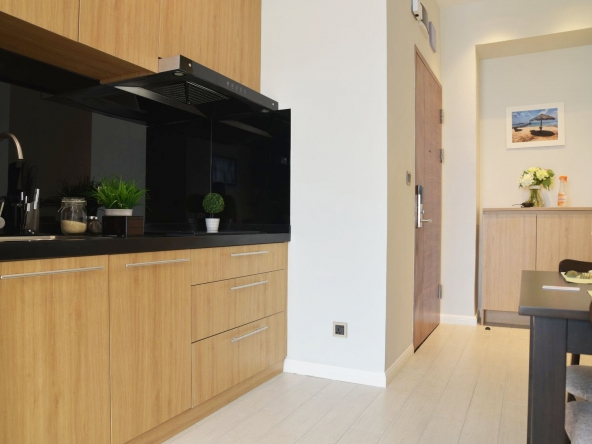 the kitchen of the luxury serviced studio apartment for rent in BKK1 in Phnom Penh Cambodia
