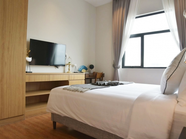 the bedroom of the luxury serviced studio apartment for rent in BKK1 in Phnom Penh Cambodia