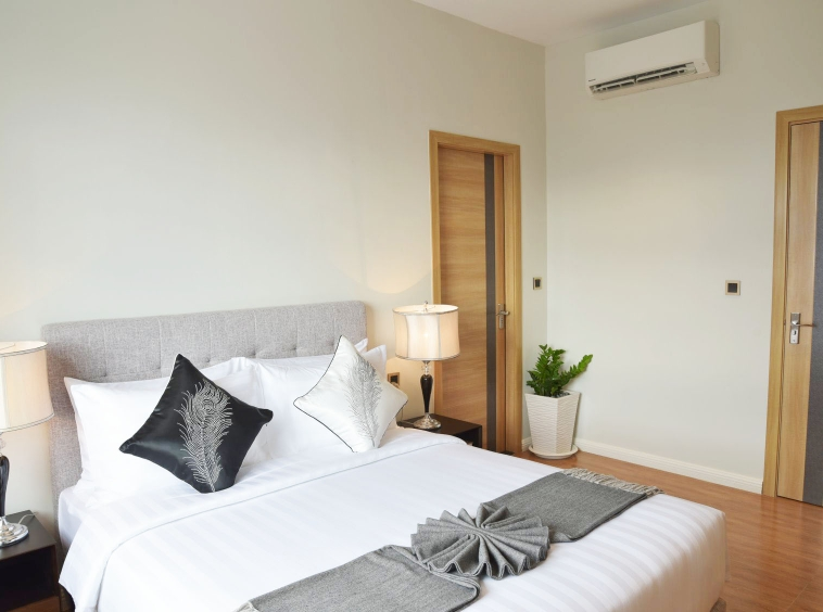 the bedroom of the luxury serviced 1-bedroom apartment for rent in BKK1 in Phnom Penh Cambodia