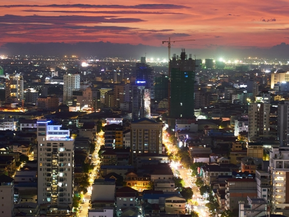 night view from the luxury serviced apartment for rent in BKK1 in Phnom Penh Cambodia