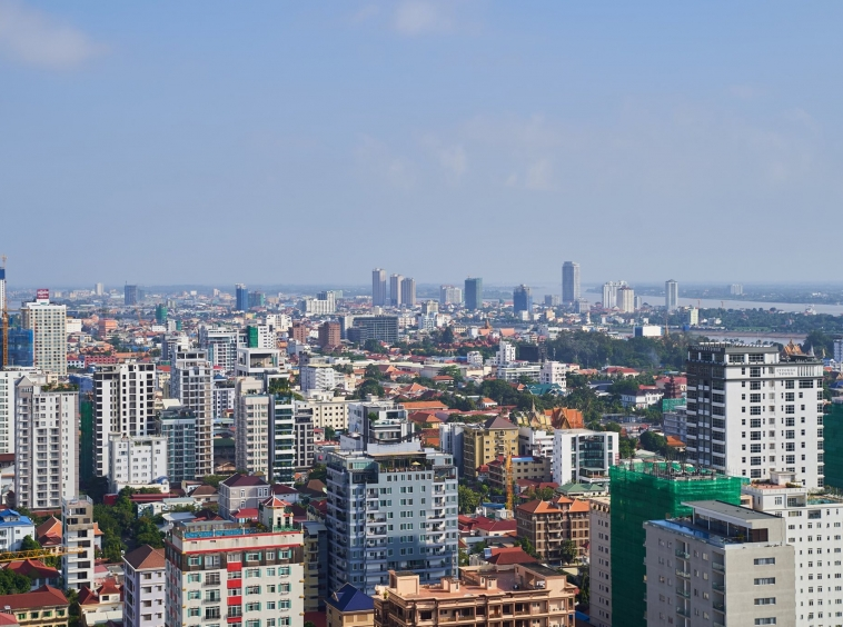 a view from the luxury serviced apartment for rent in BKK1 in Phnom Penh Cambodia
