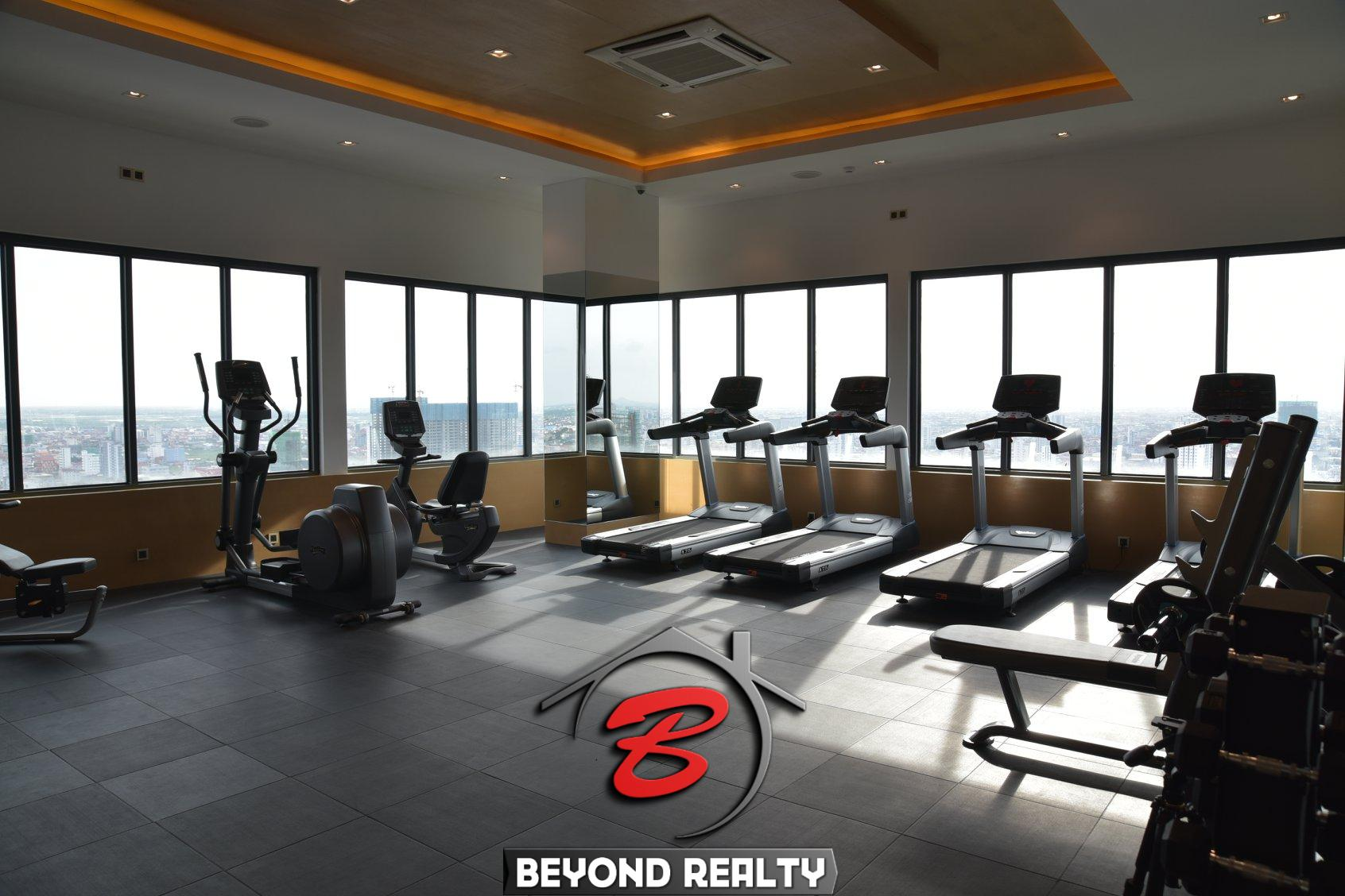 the gym of the luxury serviced apartment for rent in BKK1 in Phnom Penh Cambodia