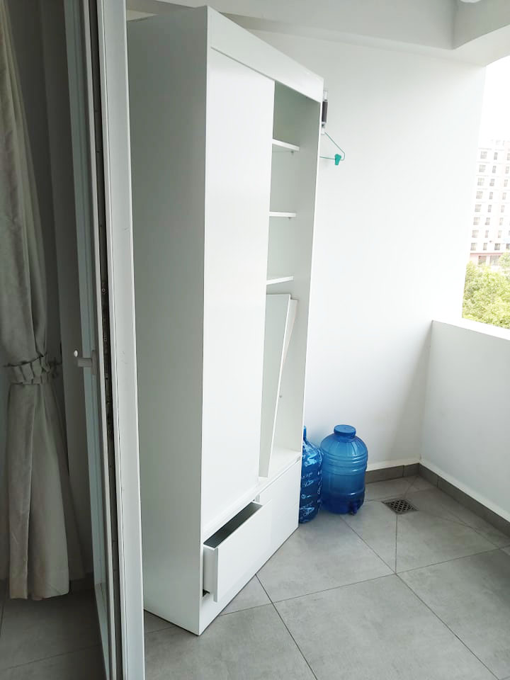 the balcony of the 1-bedroom condo for rent in Sangkat 4 in Sihanoukville