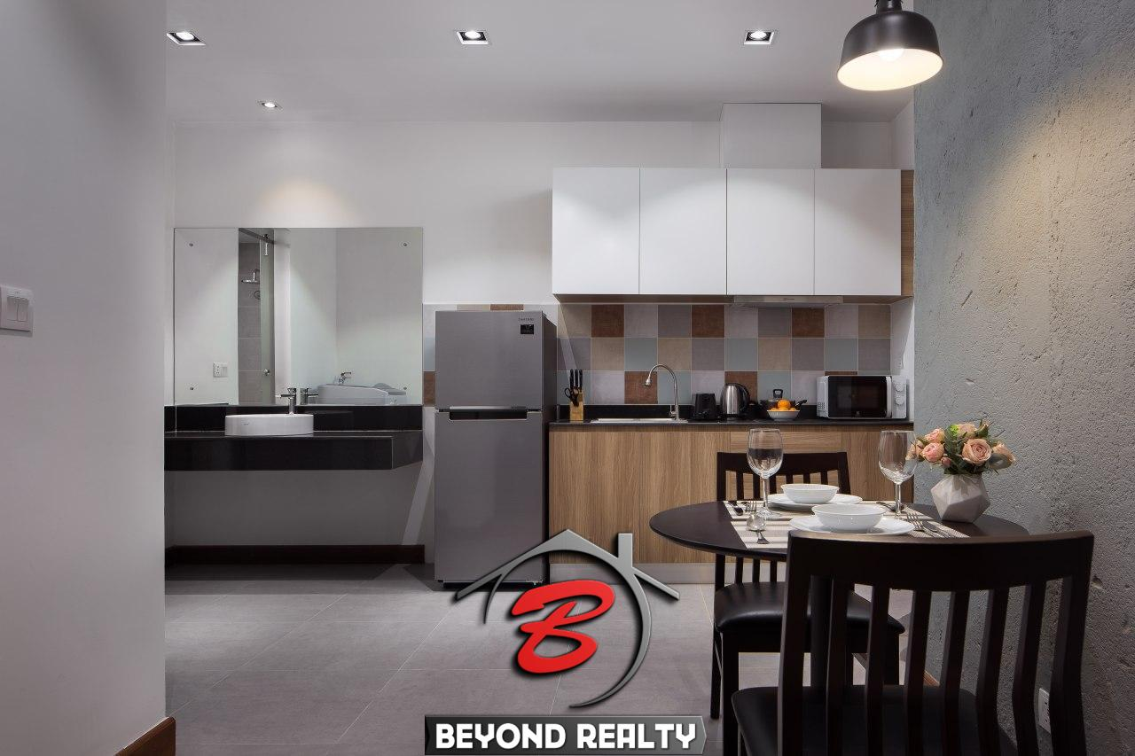 the kitchen of the 1br serviced apartment rental in Toul Tom Poung Phnom Penh Cambodia