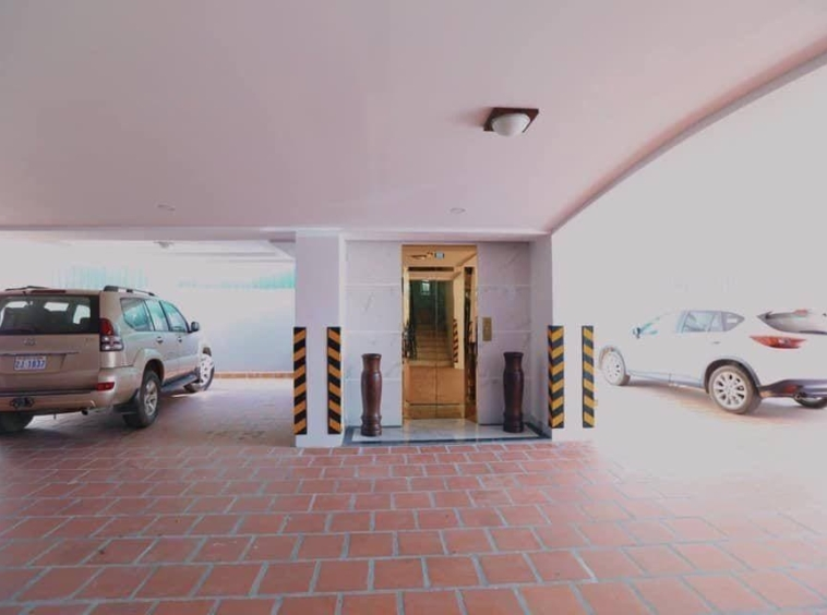 car parking area of the serviced apartment for rent in Boeung Trabek in Chamkar Mon Phnom Penh Cambodia