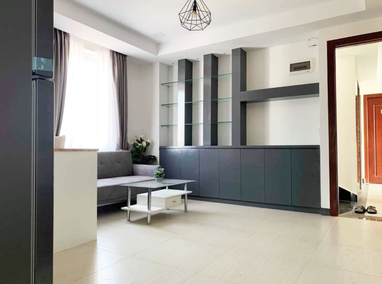 the living room of the 1-bedroom serviced apartment for rent in Toul Tom Poung in Phnom Penh