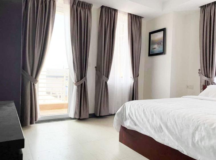 the bedroom of the serviced apartment for rent in Toul Tom Poung in Phnom Penh