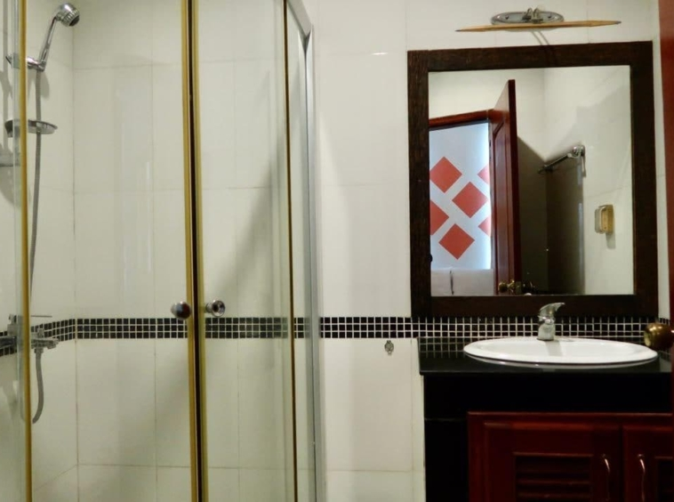 a bathroom of the the 2-bedroom serviced apartment for rent near Wat Phnom in Daun penh in Phnom Penh Cambodia