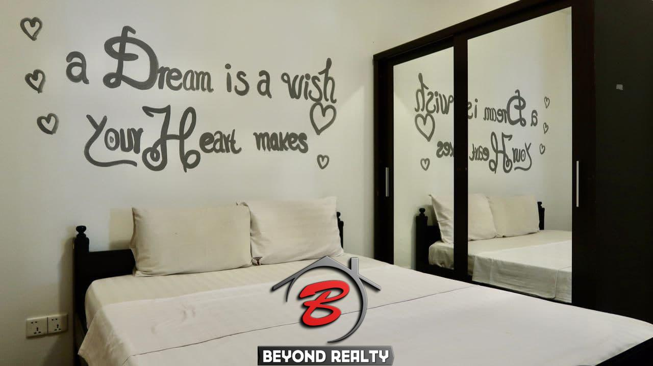 a bedroom of the the 2-bedroom serviced apartment for rent near Wat Phnom in Daun penh in Phnom Penh Cambodia