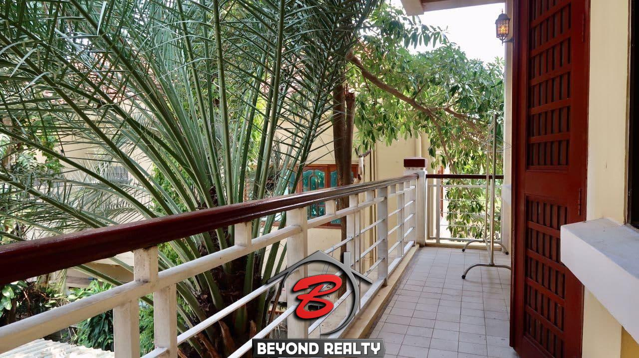 the balcony of the the 2-bedroom serviced apartment for rent near Wat Phnom in Daun penh in Phnom Penh Cambodia