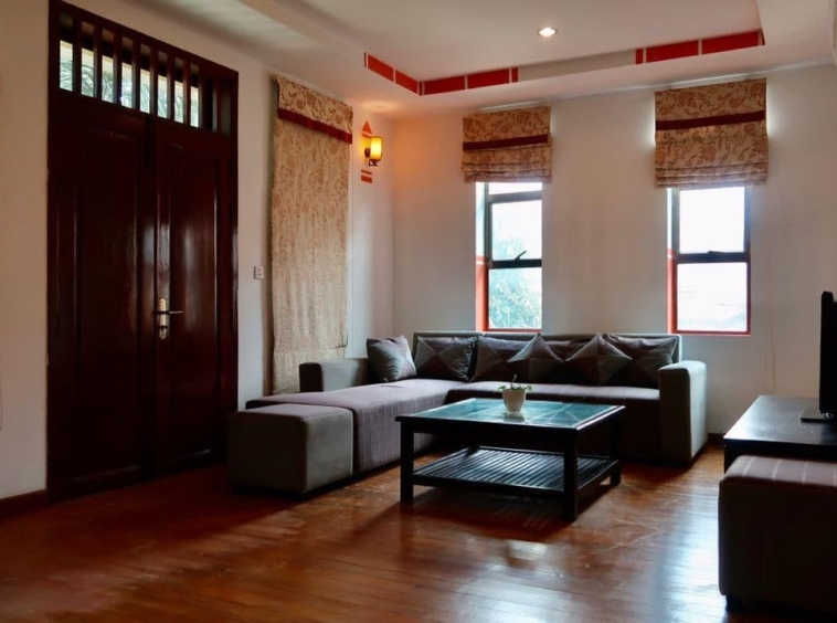 the living room of the 2-bedroom serviced apartment for rent near Wat Phnom in Daun penh in Phnom Penh Cambodia