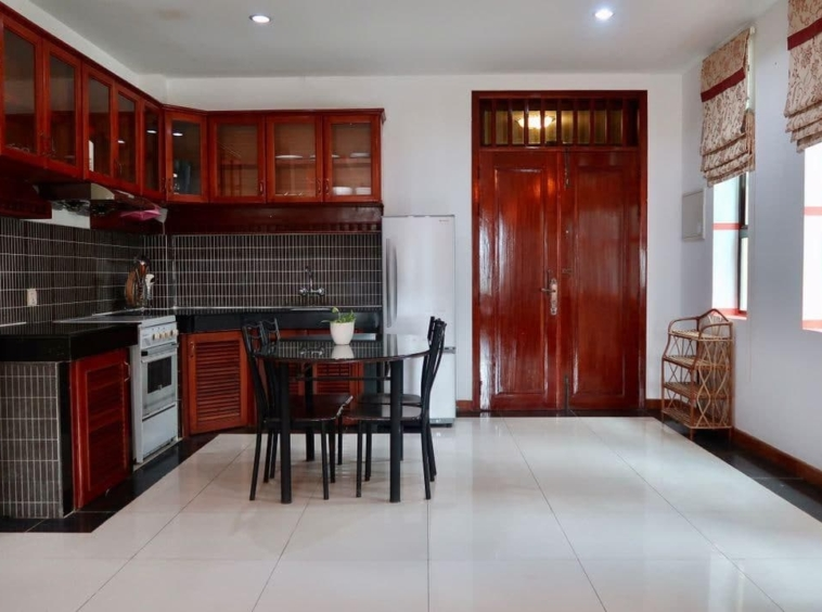 the kitchen of the the 2-bedroom serviced apartment for rent near Wat Phnom in Daun penh in Phnom Penh Cambodia