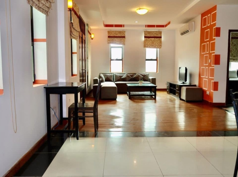 the living room of the the 2-bedroom serviced apartment for rent near Wat Phnom in Daun penh in Phnom Penh Cambodia