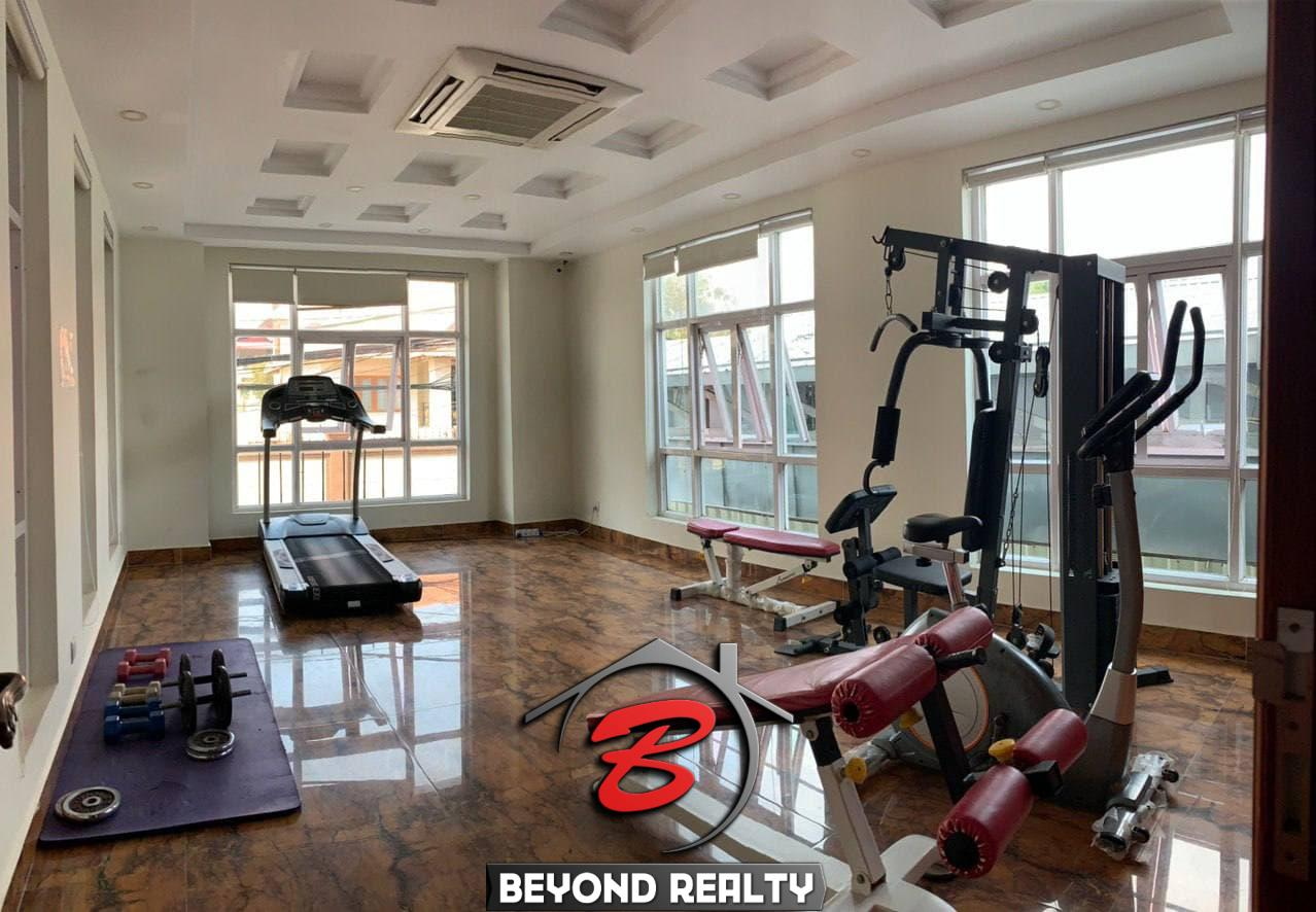 the gym of the serviced apartment for rent in Boeung Trabek in Chamkar Mon Phnom Penh Cambodia