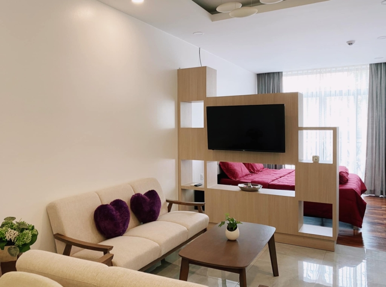 the living area of the studio apartment unit in the luxury serviced condo in Sangkat Srah Chak in Phnom Penh Cambodia