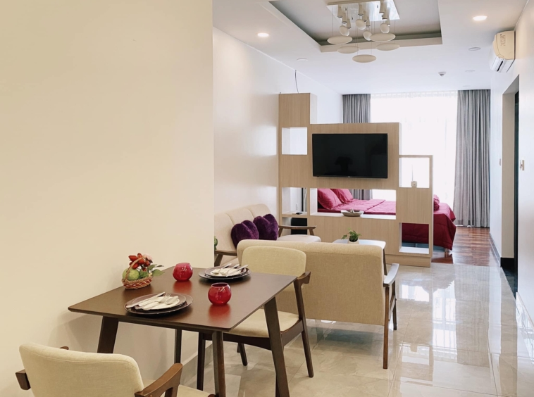 the living room of the studio apartment unit in the luxury serviced condo in Sangkat Srah Chak in Phnom Penh Cambodia
