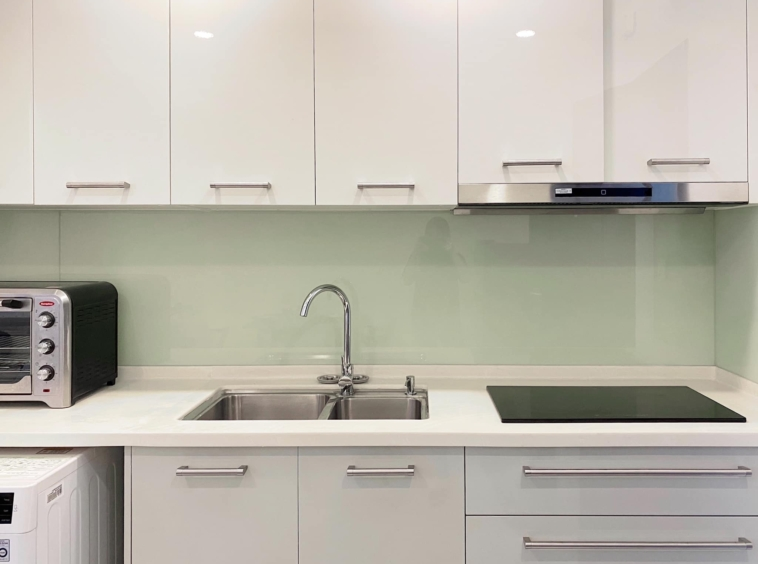 the kitchen of the studio apartment unit in the luxury serviced condo in Sangkat Srah Chak in Phnom Penh Cambodia