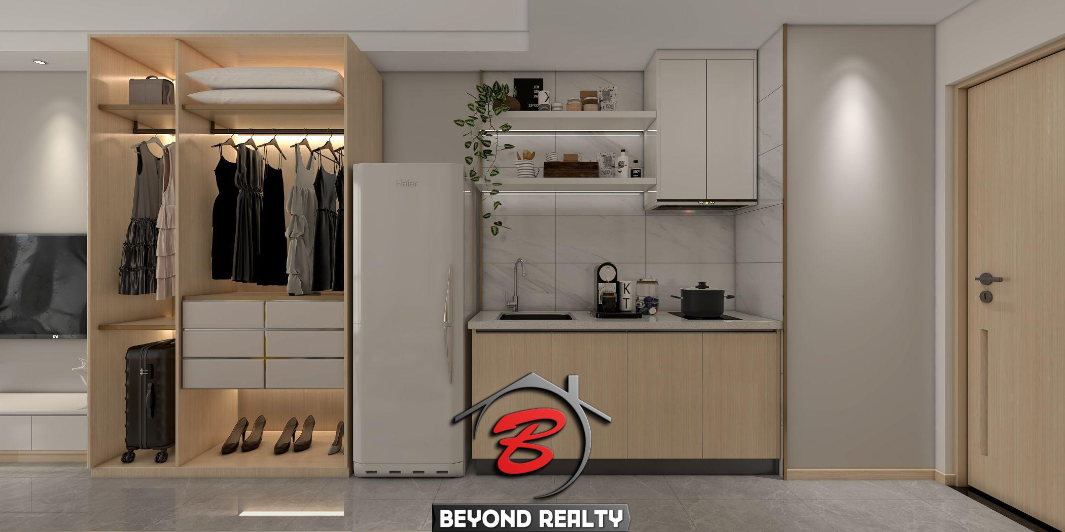 the kitchen of the studio condo for sale at Prince Huan Yu in Tonle Bassac Cambodia
