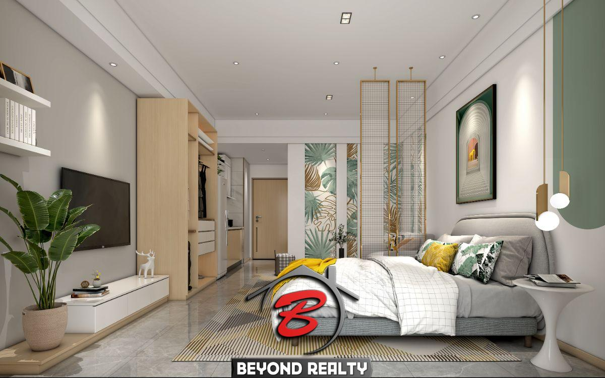 the living room of the studio condo for sale at Prince Huan Yu in Tonle Bassac Cambodia