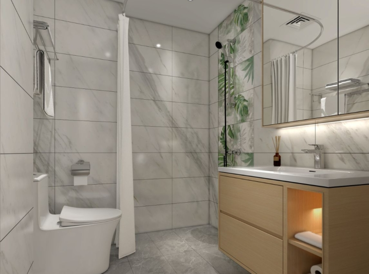 the bathroom of the studio condo for sale at Prince Huan Yu in Tonle Bassac Cambodia