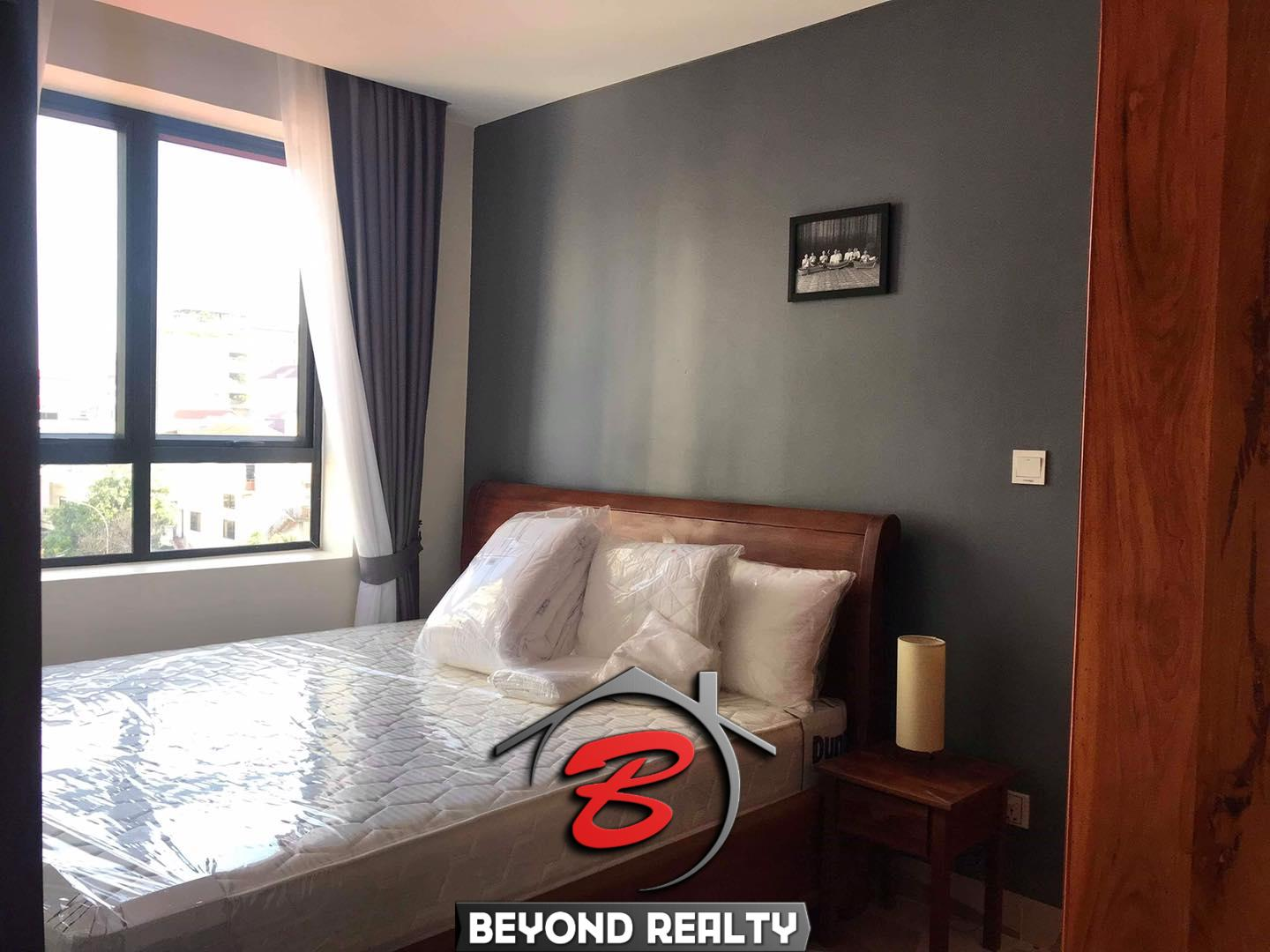 the bedroom of the 1-bedroom serviced apartment for rent in BKK3 in Phnom Penh Cambodia
