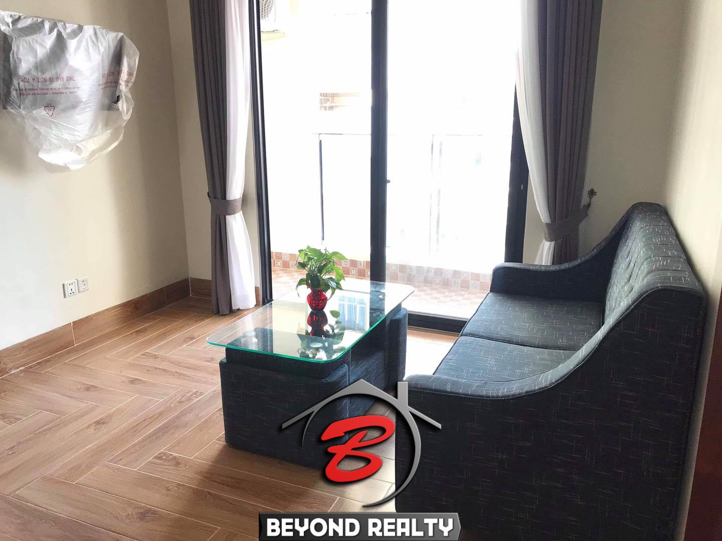 the living room of the 1-bedroom serviced apartment for rent in BKK3 in Phnom Penh Cambodia