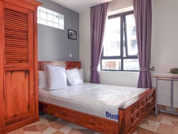 a bedroom of the 2br serviced apartment for rent in BKK3 in Phnom Penh Cambodia