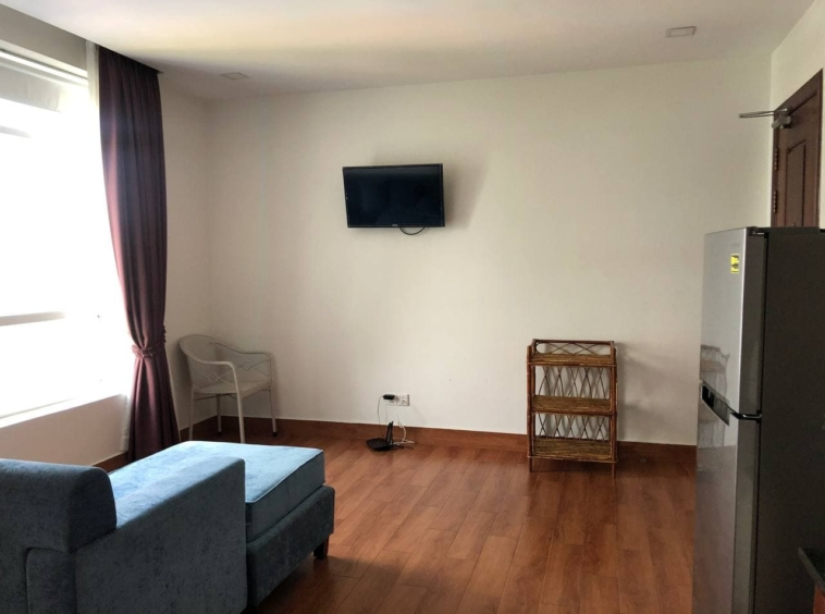 the living room of the 1br apartment for rent in Tonle Bassac Phnom Penh Cambodia