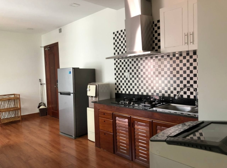the kitchen of the 1br apartment for rent in Tonle Bassac Phnom Penh Cambodia