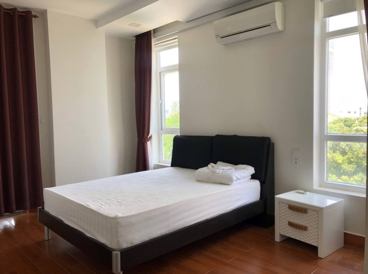 the bedroom of the 1br apartment for rent in Tonle Bassac Phnom Penh Cambodia