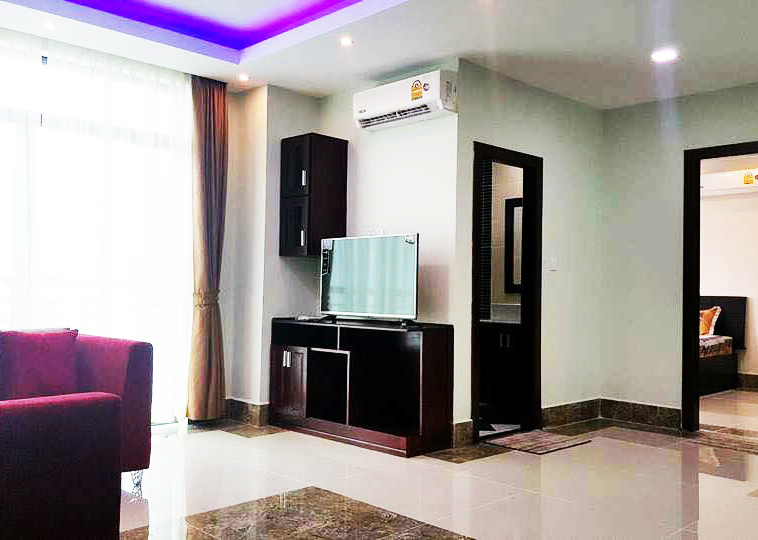 the living room of the 1br cozy serviced apartment for rent in BKK3 Phnom Penh Cambodia