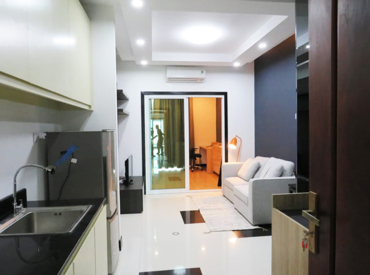 the living room of the 1br flat for rent in Toul Tom Poung Russian Market Phnom Penh Cambodia